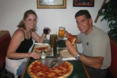 Joe & Tashia Bretti enjoy their pizza